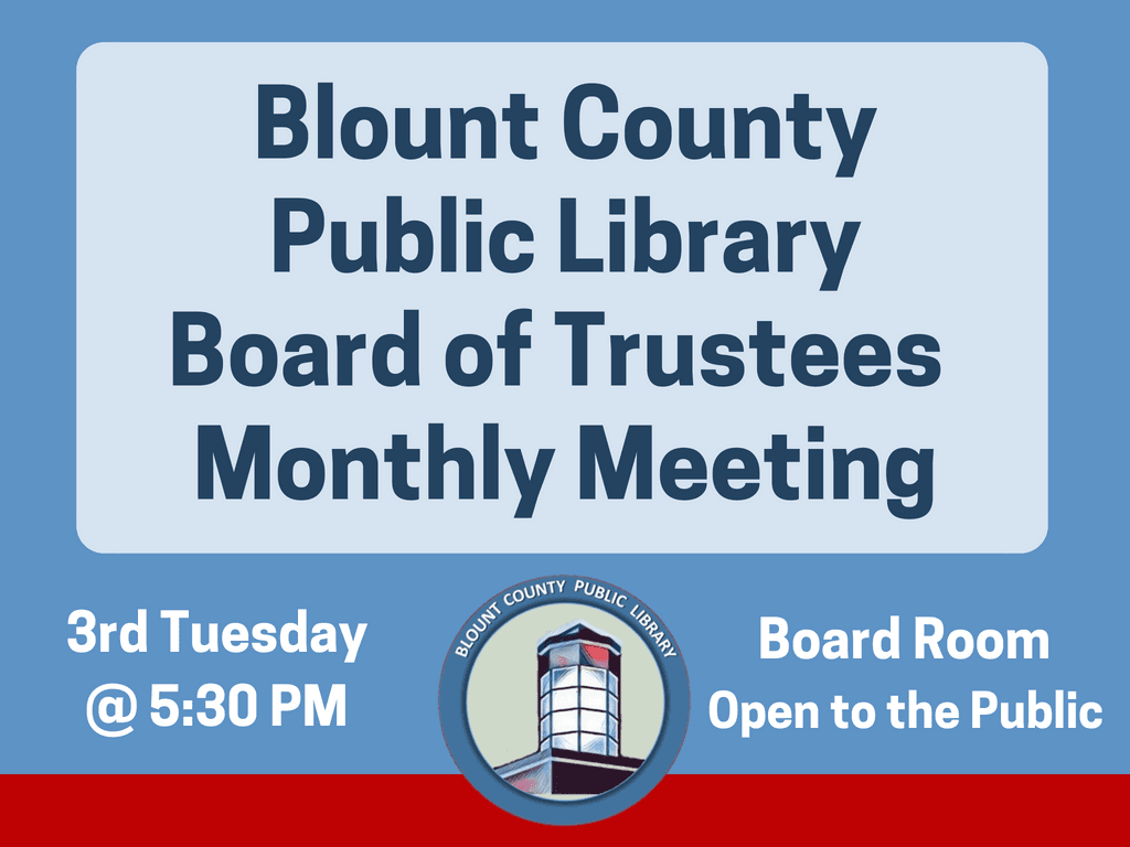 BCPL Board Monthly Meetings 3rd Tuesday (Signage)