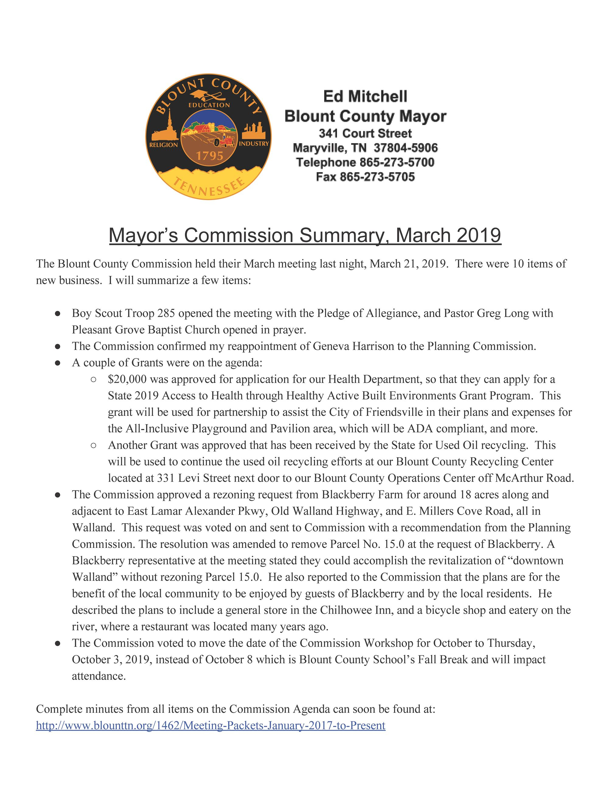 Mayor Commission Summary - March 2019