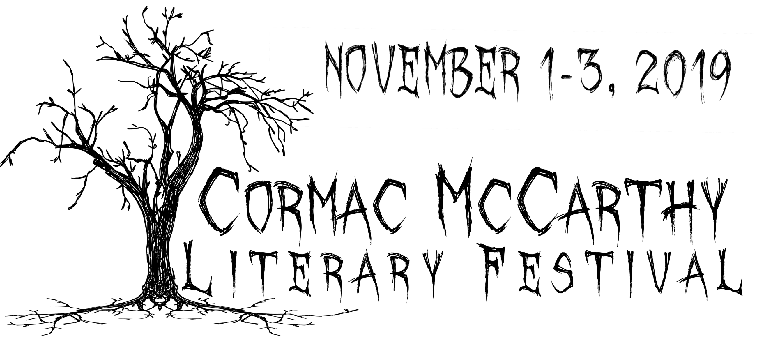Cormac McCarthy Logo landscape with date