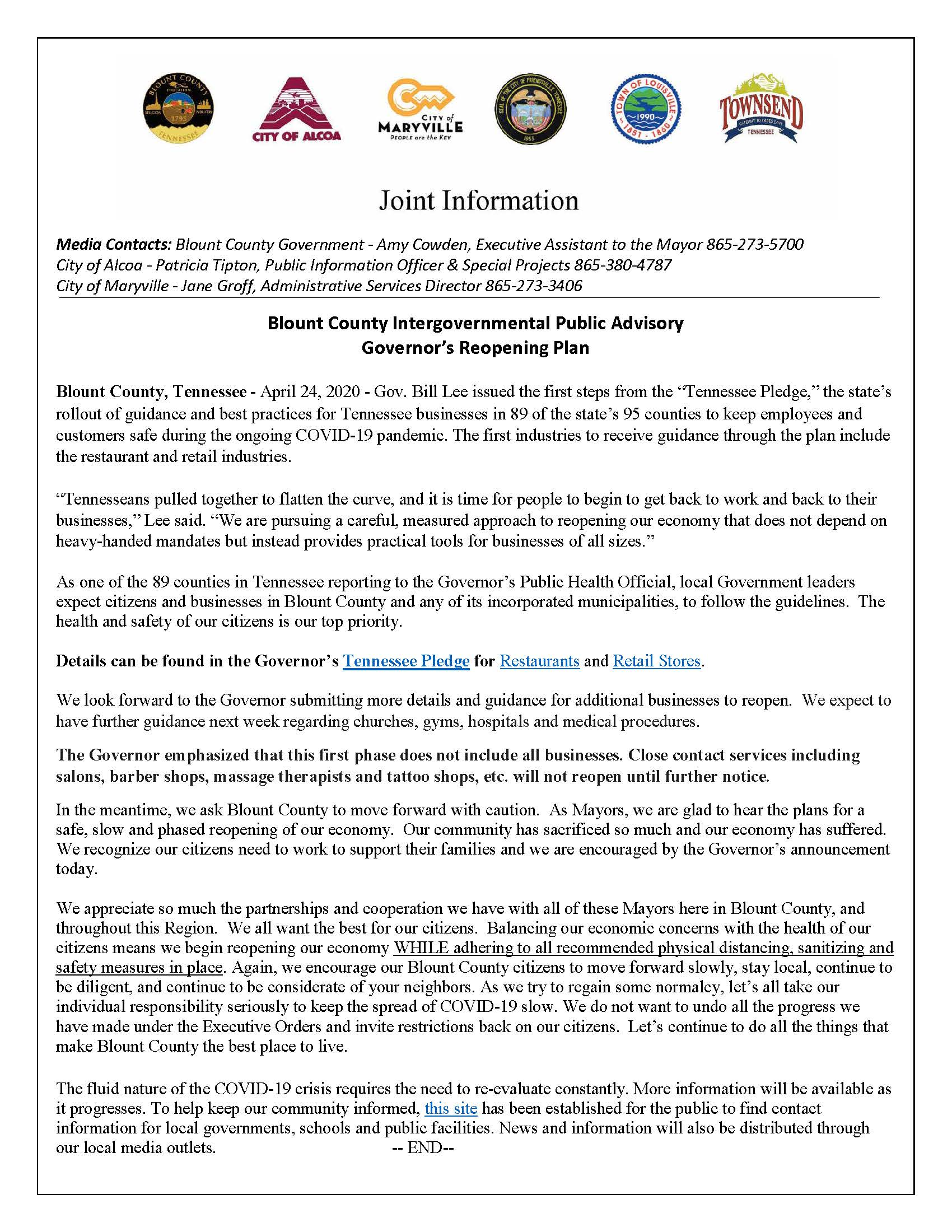 April 24. 2020 Joint Intergovernmental Advisory