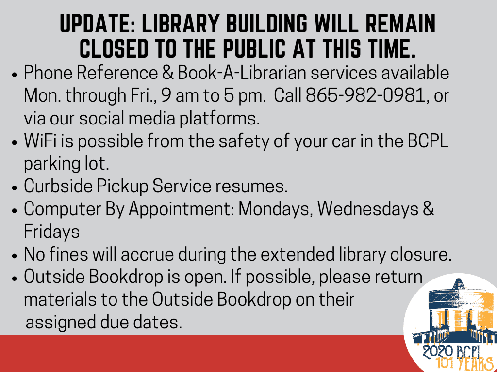 update library services for May 2020  (Signage)