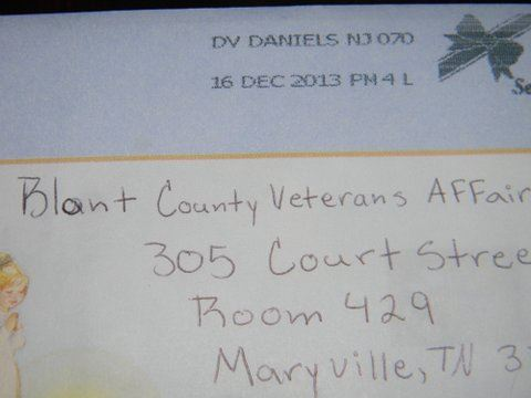 Image of postmark from Daniels New Jersey, dated December 16, 2013