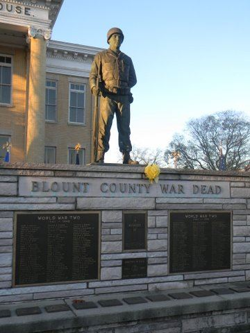 Image of the Blount County War Dead memorial with yellow ribbon